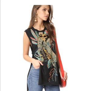 Beaded cheetah jungle bay Free People tunic tank